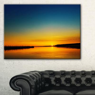 Designart Orange Sunset Over River Skyline Photography Canvas Art - 3 Panels