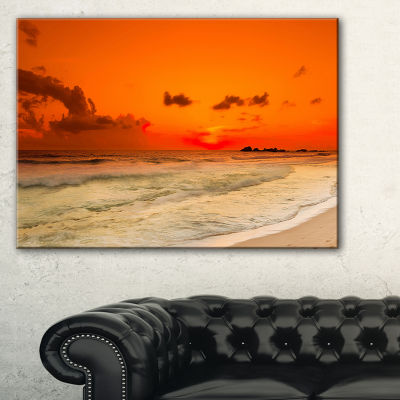 Designart Orange Sunset Over Sea Seascape Photography Canvas Art Print - 3 Panels