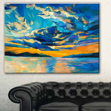 Designart Orange Sunset With Blue Sky Modern Painting Canvas Print