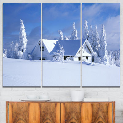 Designart Orlicke Hory Cottage In Winter LandscapePhotography Canvas Print - 3 Panels