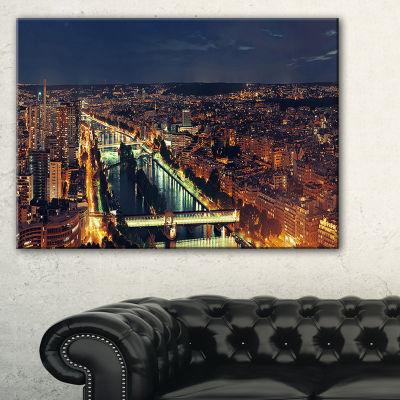 Designart Paris City Night Skyline Cityscape PhotoCanvas Art Print
