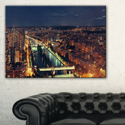 Designart Paris City Night Skyline Cityscape PhotoCanvas Art Print - 3 Panels