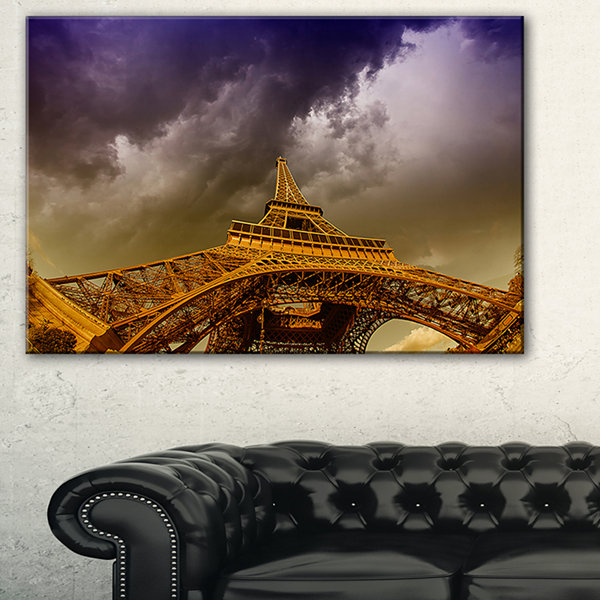 Designart Paris Eiffel Towerand Gorgeous Sky Photography Canvas Art Print