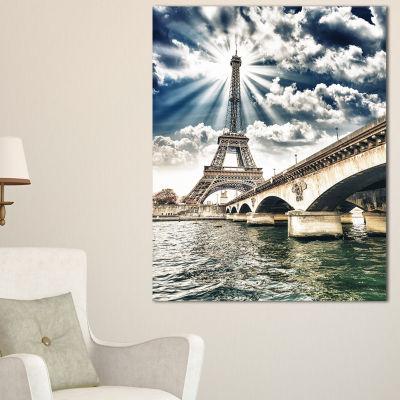 Designart Paris Eiffel Towerand Iena Bridge Cityscape Photo Canvas Art Print