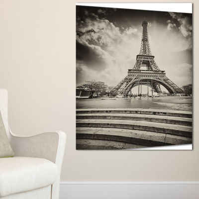 Designart Paris Eiffel Towerin Gray Shade Landscape Photo Canvas Art Print