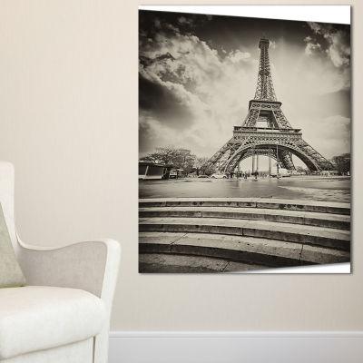 Designart Paris Eiffel Towerin Gray Shade Landscape Photo Canvas Art Print - 3 Panels