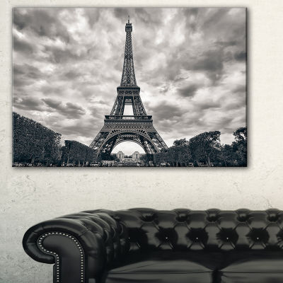 Designart Paris Eiffel Towerunder Dramatic Sky Skyline Photography Canvas Art