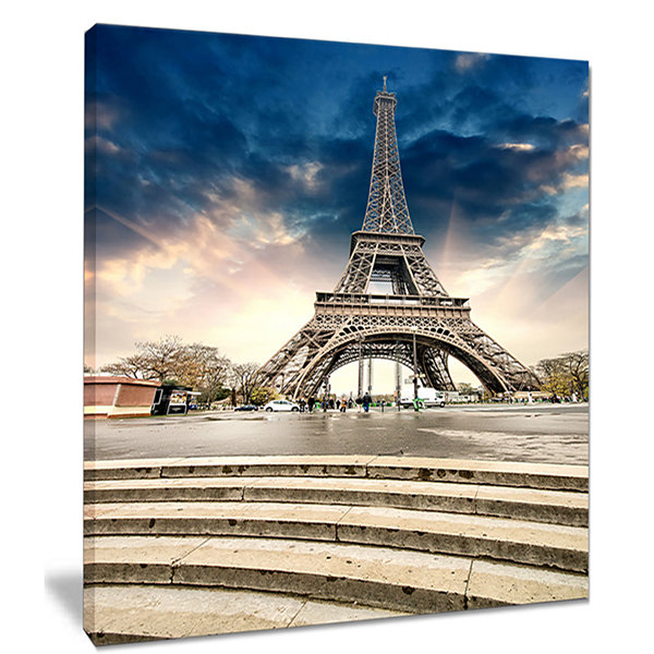 Designart Paris Eiffel Towerwith Stairs LandscapePhoto Canvas Art Print