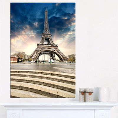 Designart Paris Eiffel Towerwith Stairs LandscapePhoto Canvas Art Print - 3 Panels