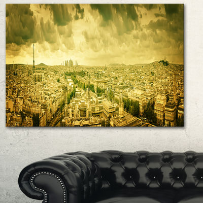 Designart Paris Panorama With Scenic Sky SkylinePhotography Canvas Art