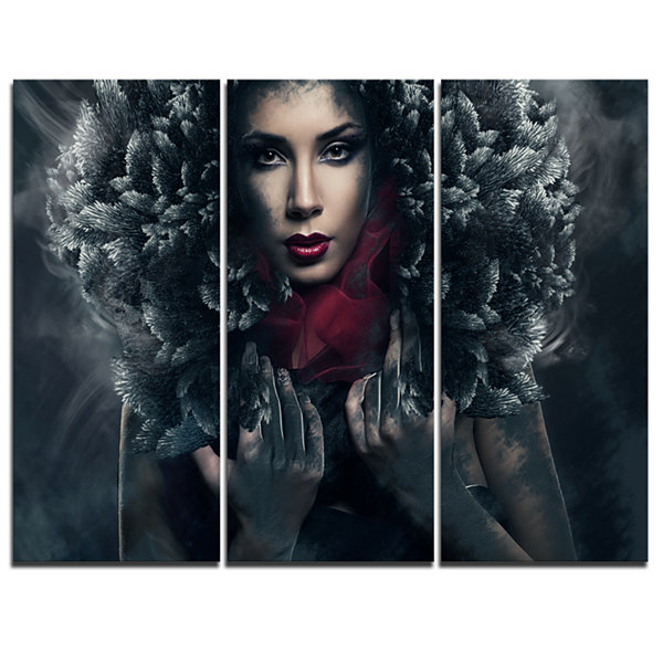 Designart Passionate Woman In Feather Hood Portrait Canvas Art Print - 3 Panels