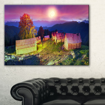 Designart Pasture With Shepherds Houses LandscapePhotography Canvas Print - 3 Panels