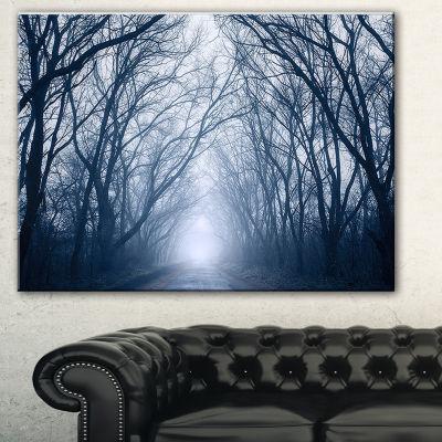Designart Path In Dark Autumn Forest Landscape Photography Canvas Print - 3 Panels