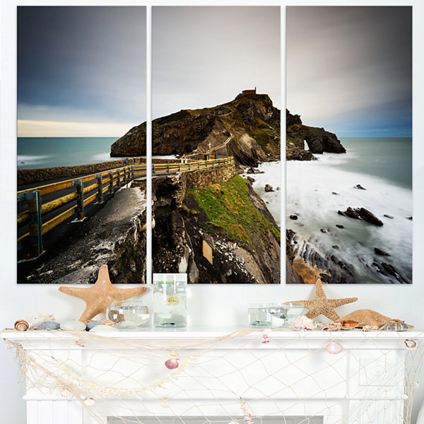 Designart Path To Cape And Chapel In Spain Seashore Photo Canvas Print - 3 Panels