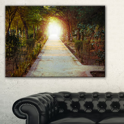 Designart Path To Magical Mystery Woods LandscapePhotography Canvas Print - 3 Panels