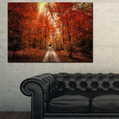 Designart Picturesque Red Autumn Forest LandscapePhoto Canvas Art Print - 3 Panels