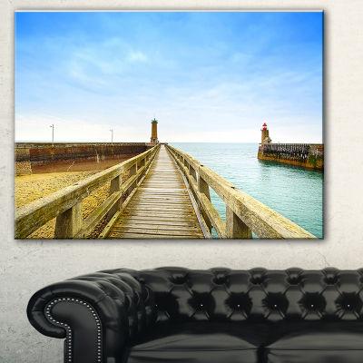 Designart Pier And Lighthouse France Seascape Canvas Art Print - 3 Panels