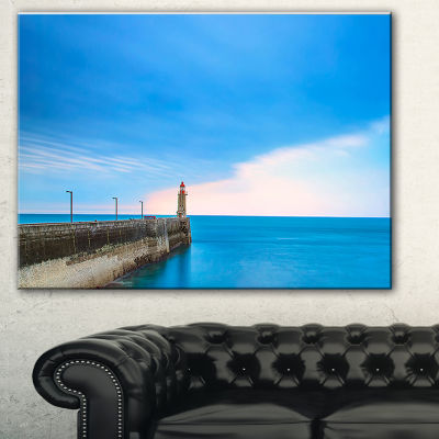 Designart Pier And Lightour In Sunset Seascape Canvas Art Print - 3 Panels
