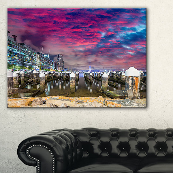 Designart Pier At Melbourne Harbor Seascape Photography Canvas Art Print - 3 Panels