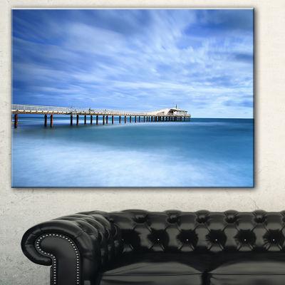 Designart Pier Infinite To Blue Sea Seascape Canvas Art Print