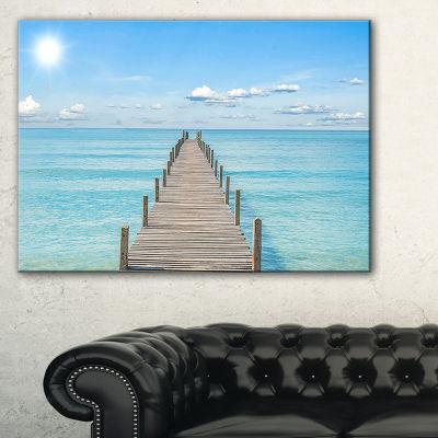 Designart Pier Infinite To The Sea Seascape CanvasArt Print - 3 Panels