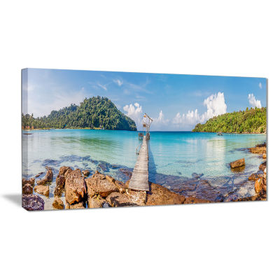 Designart Pier To The Island Panorama Landscape Photography Canvas Print