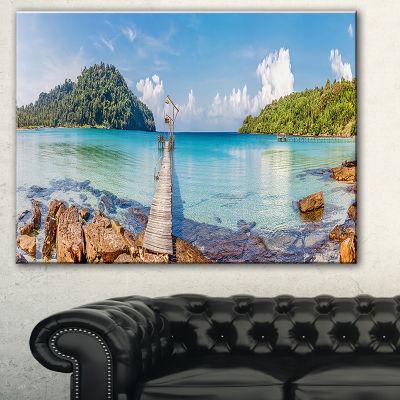 Designart Pier To The Island Panorama Landscape Photography Canvas Print - 3 Panels