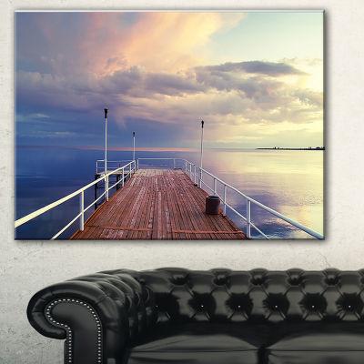 Designart Pier Under Bright Sky Seascape Canvas Art Print - 3 Panels