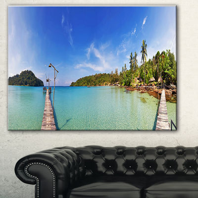 Designart Piers And Palm Trees On Island LandscapePhotography Canvas Print - 3 Panels