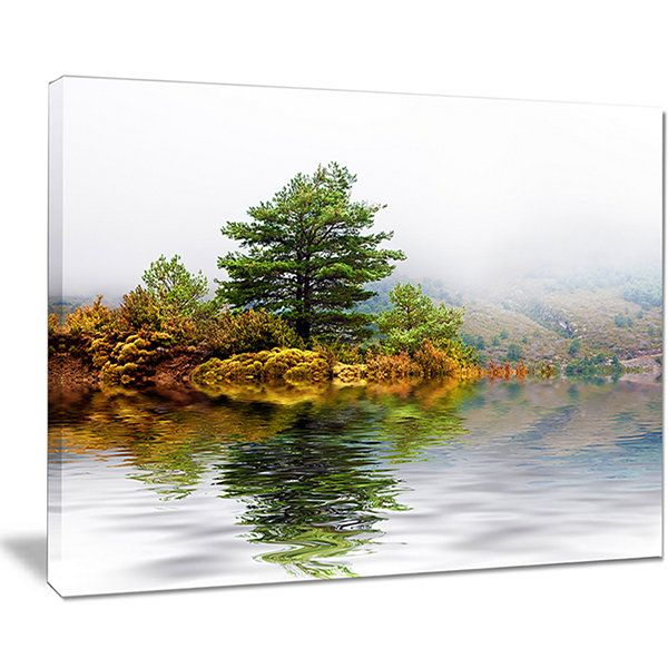 Designart Pine Tree With Reflection Landscape Photography Canvas Print