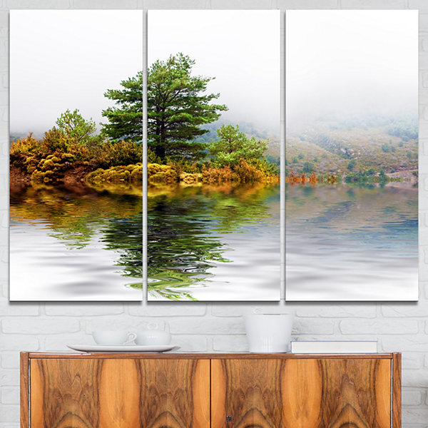 Designart Pine Tree With Reflection Landscape Photography Canvas Print - 3 Panels