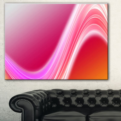 Designart Pink Abstract Curved Lines Abstract Canvas Art Print - 3 Panels