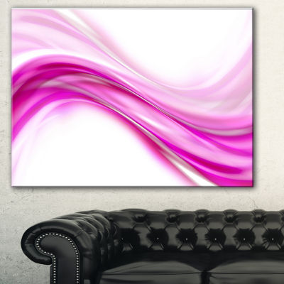 Design Art Pink Abstract Waves Abstract Canvas ArtPrint - 3 Panels