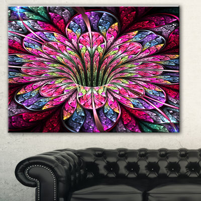 Design Art Pink Blue Colorful Flower Floral Art Canvas Print