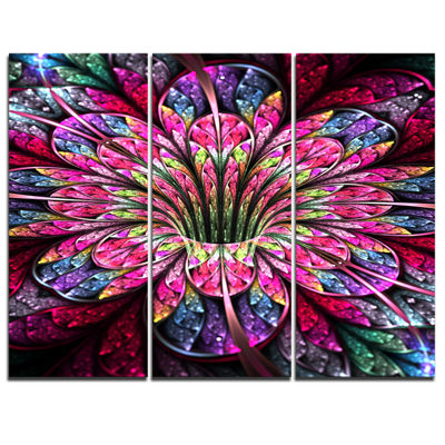 Designart Pink Blue Colorful Flower Floral Art Canvas Print - 3 Panels