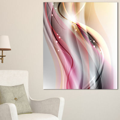 Designart Pink Brown Abstract Lines Abstract Canvas Art Print