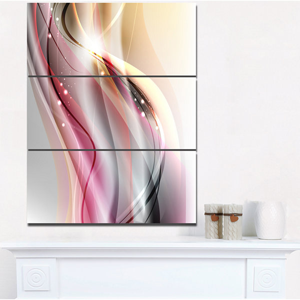 Design Art Pink Brown Abstract Lines Abstract Canvas Art Print - 3 Panels