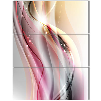 Designart Pink Brown Abstract Lines Abstract Canvas Art Print - 3 Panels