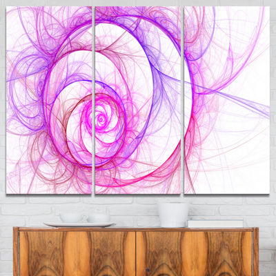 Designart Pink Exotic Flower Pattern Floral Art Canvas Print - 3 Panels