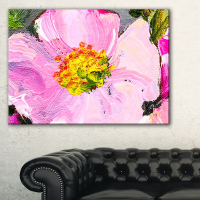 Designart Pink Flower Oil Painting Floral PaintingCanvas - 3 Panels
