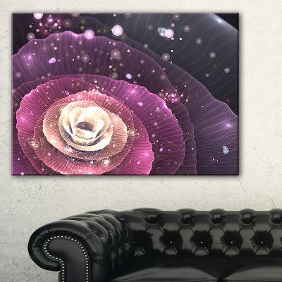 Designart Pink Flower With Sparkles Floral Art Canvas Print - 3 Panels