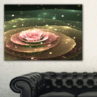 Designart Pink Flower With Water Droplets FloralArt Canvas Print - 3 Panels