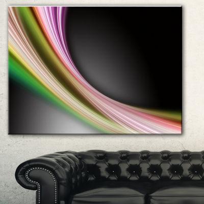 Designart Pink Green Abstract Lines Abstract Canvas Art Print
