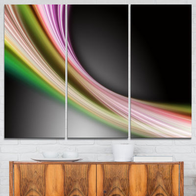 Designart Pink Green Abstract Lines Abstract Canvas Art Print - 3 Panels
