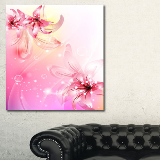 Designart Pink Lily Flowers Vector Floral Art Canvas Print