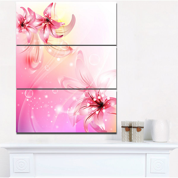 Designart Pink Lily Flowers Vector Floral Art Canvas Print - 3 Panels