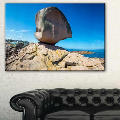 Designart Pink Rock In Tregastel Landscape Photo Canvas Art Print