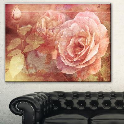 Designart Pink Roses In Vintage Style Floral ArtCanvas Print - 3 Panels