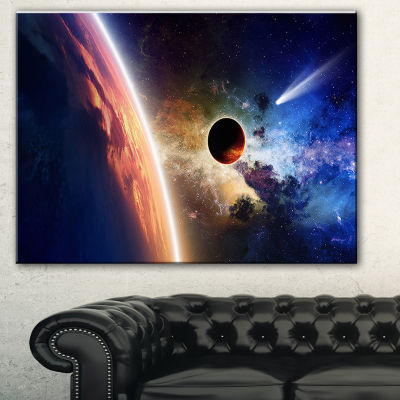 Designart Planet And Comet In Space Spacescape Canvas Art Print