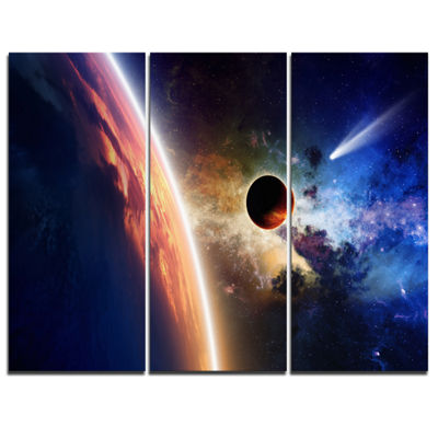 Designart Planet And Comet In Space Spacescape Canvas Art Print - 3 Panels